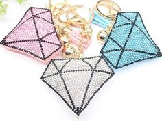 Bling mosaic diamond shape keychain with tassels 4colors
