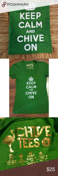 The Chive KCCO women's t- shirt KEEP CALM AND BUY THIS SHIRT...EUC authentic Chive Tees, women's size small. Short sleeve, round neck. Kelly green. Chive Tees Tops Tees - Short Sleeve