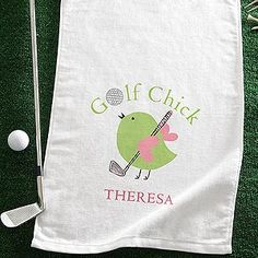 PMall's Golf Chick© Personalized Ladies Golf Towel is so cute! Gotta love that cute design - and it comes on golf tags and a water bottle, too! Personalize it for only $19.95! #Golf #GolfChick