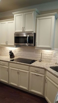 New kitchen backsplash white subway tile hardware Ideas Subway Tile Kitchen, Granite Kitchen, Kitchen Backsplash, Kitchen Cabinets, Backsplash Ideas, Subway Tiles, Dark Cabinets, White Subway Tile Backsplash, Backsplash Design