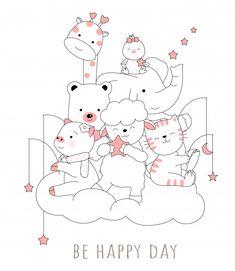 Cute baby animal with cloud cartoon hand drawn style Premium Vector Cartoon Drawings, Easy Drawings, Doodle Art, Animal Doodles, Printable Scrapbook Paper, Simple Doodles, Badge Design, Vintage Greeting Cards, Cute Cartoon Wallpapers