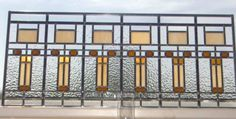 Frank Lloyd Wright inspired transom Stained Glass Panel by Gary Wilkinson