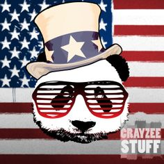 It's been a while.. but.. pandaz are back. Introducing the Patriotic Panda. Find Patriotic Panda products on our Zazzle store (http://www.zazzle.com/crayzeestuff/gifts?cg=196141174206141289&rf=238659095064075024) or on Society6 (http://society6.com/crayzeestuff/Patriotic-Panda)
