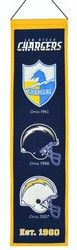"""San Diego Chargers Wool Heritage Banner - 8""""x32"""""""