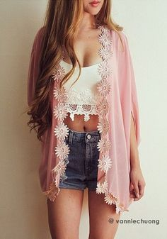 Daisy Trim Kimono.Fall in love with this chiffon kimono featuring many daisies detail at front and hem, crop sleeves