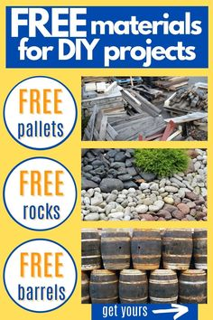 Free Materials For Your DIY Projects! This is the most exhaustive resource online listing all of the places where you can get FREE pallets, FREE lumber, FREE barrels (wood, plastic, metal), FREE dirt, FREE rocks, FREE mulch, FREE trees/plants/flowers, and FREE seasonal holiday craft items -- like Halloween pumpkins and Christmas trees. #freestuff #diycrafts #freebies #freecraftsupplies