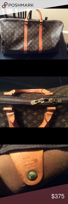 Authentic Louis Vuitton Keepall 55 Previous sale was canceled. Buyer changed mind! I had already shipped to posh concierge that same morning! It's on it's way back from Posh. Who would like to reserve this beautiful bag! Date code ML 874. No strap. No smells. Zipper works. Louis Vuitton Bags Travel Bags