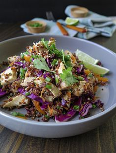 New recipe today and it's gooooooood. It's a party-in-your-mouth kinda salad 🥳 Enjoy, friends! Red Quinoa Recipes, Red Quinoa Salad, Asian Dressing, Asian Slaw, Homemade Dressing, Rice Dishes, Recipe Today, Chicken Thighs, Chicken Recipes