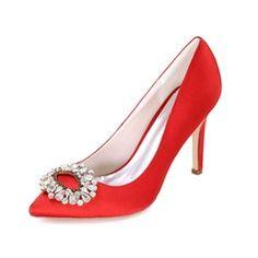 Women's Satin Stiletto Heel Closed Toe Pumps With Rhinestone (047093826)