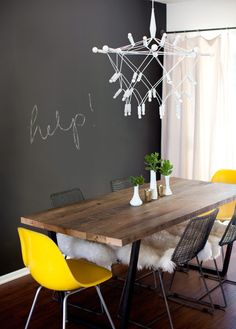 LOVE this dining table. I've been looking for something similar with no luck (at least something affordable). Possible DIY project?  photo by Sarah Yates, via A House in the Hills blog