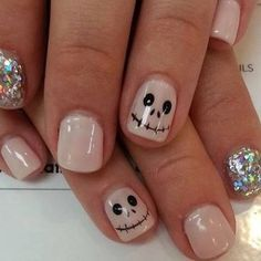 13 Fun & Spooky Halloween Nail Art Ideas to Get You in the Mood (PHOTOS) | Chic Nude & Glitter Nails With Skull Detail