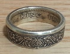 Half Rupee India Silver Coin Ring by JoshsCoinRings on Etsy