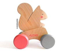 Educational Personalized Wooden push toy - Wooden toy car - Push along toys - Squirrel toy - Wooden toy car
