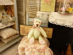 OOAK Miniature Teddy bear, Pistachio green, Collectible toy, Dollhouse, roombox in 1:12th scale