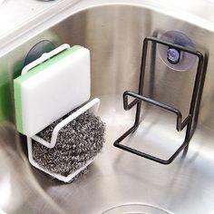 ANDI Simple suction cup double iron draining rack multi-purpose debris storage racks sink sponge brush holder kitchen racker