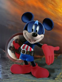 Captain America Mickey (marvel Disney hybrid) by lavrennom Mickey Mouse Images, Mickey Mouse Art, Mickey Mouse And Friends, Disney Images, Disney Pictures, Pato Donald Y Daisy, Mickey Mouse Wallpaper Iphone, Mickey Love, Disney Crossovers