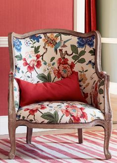 SUMMER CHOICE - Persian Pomegranate Fabric from GP  J Baker - bought this as a summer choice.  lamp, cushions  ottoman