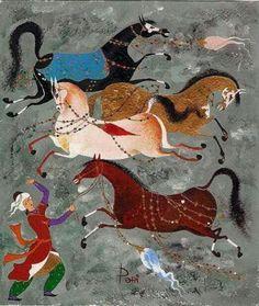 Azerbaijan Horse Illustration, Islamic Paintings, Motifs Animal, Iranian Art, Turkish Art, Horse Drawings, Equine Art, Horse Art, Ancient Art