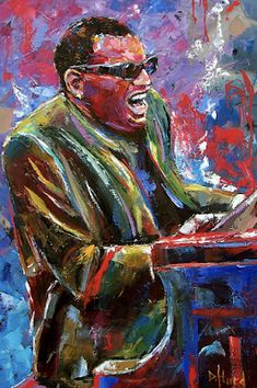 """Daily Painters Abstract Gallery: Jazz Portrait Painting,Piano, Music Art Paintings """"Mr Ray"""" By Texas Artist Debra Hurd"""