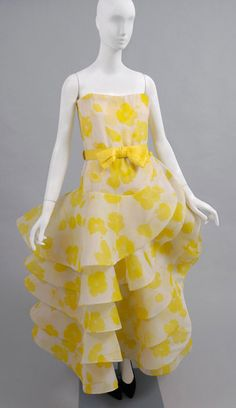 Dress, Pierre Cardin, ca. 1983, French; Yellow and white printed silk chiffon, yellow silk/synthetic faille