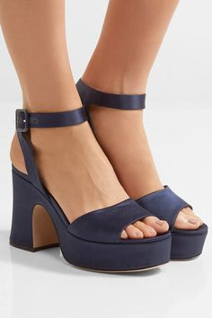 Heel measures approximately 100mm/ 4 inches with a 35mm/ 1.5 inches platform Midnight-blue satin and leather Buckle-fastening ankle strap Made in Italy