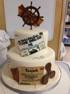 Titanic themed cake, made with delicate fondant detail.