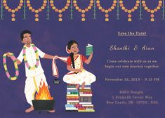 Custom illustrated wedding invitations, unique to each couple, designed by Mithila Ananth Illustrated Wedding Invitations, Indian Wedding Invitation Cards, Indian Wedding Planner, Wedding Invitation Video, Funny Wedding Invitations, Wedding Stationery, Invitation Wording, Digital Invitations, Invitation Suite