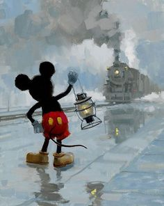 "Disney Fine Art: ""Yardmaster Mickey"" by David Tutwiler:) Mickey Mouse Art, Mickey Mouse Wallpaper, Mickey Mouse And Friends, Disney Wallpaper, Minnie Mouse, Disney Paintings, Disney Artwork, Disney Drawings, Walt Disney"
