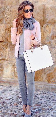 #winter #fashion /  Pink Jacket + Grey Knit