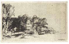 Rembrandt Harmenszoon van Rijn, Clump of Trees with a Vista, Drypoint on paper. Rembrandt Etchings, Rembrandt Drawings, Landscape Drawings, Landscape Prints, Van Gogh Zeichnungen, Art Postal, Bouquet, Collage, Canvas Prints