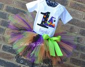 Birthday Wacky Witch Hat with Spider Halloween Tutu outfit, Witch and Spider Themed Halloween Birthday Tutu Set