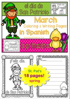 Perfect for Spanish dual language / immersion programs! St. Patrick's Day and spring-themed coloring posters, all in Spanish. ($)
