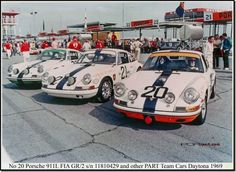 Porsche's 1969 Daytona 24 Hr team run under the title of Porsche of America Racing Team or PART. The # 20'car with Bruce Jennings went on to win it's class