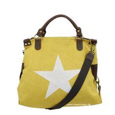 Wearit Bags - ITAL. DAMEN SCHULTERTASCHE SHOPPER IN CANVAS UND LEDER MIT STERN DRUCK CV2626