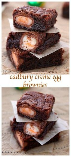 Cadbury creme egg brownies Rich, fudgy and totally addictive, these Cadbury creme eggs brownies will be the first to disappear from your Easter table. The ultimate Easter dessert! Just Desserts, Delicious Desserts, Dessert Recipes, Yummy Food, Breakfast Recipes, Healthy Food, Dinner Recipes, Healthy Recipes, Easter Recipes