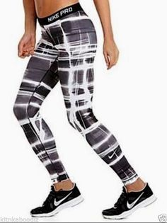 NWT Nike® Dri-Fit® Pro Print Compression BLACK/WHITE Tights/Leggings SMALL & MEDIUM Sizes in stock. New from NIKE