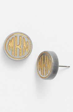 I NEED these.  Moon and Lola 'Chelsea' Small Personalized Monogram Stud Earrings | Nordstrom