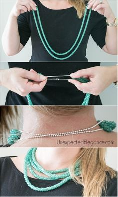 Create a layered necklace or shorten a really long one with this Cheapest and BEST Necklace Accessory Trick!!