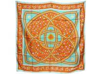 100% Auth Hermes Scarf Shawl Silk 90x90 DONNER LA MAIN Green Orange B722
