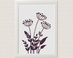 Wildflowers cross stitch pattern Modern cute flower grass