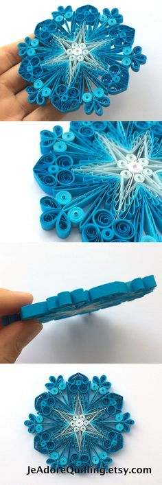 Quilled Snowflakes Paper Quilling Art Christmas Tree Decor Winter Hanging Ornaments Gifts Toppers Fillers Office Corporate Blue White