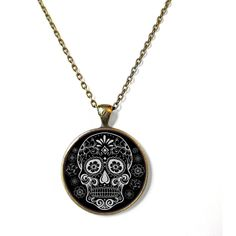 Black White Sugar Skull Necklace, Bubblegum Nu Soft Grunge Pastel Goth... ($15) ❤ liked on Polyvore featuring jewelry, necklaces, skull chain necklace, chain necklace, skull jewelry, bronze necklace and chain pendants