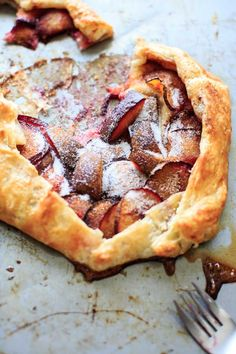 Puff Pastry Plum Galette - a deliciously simple and colorful fruit dessert that will take only minutes to throw together.