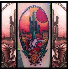My new desert rock/kyuss inspired tattoo by Kurt Marlow at Falling Leaves Tattoo, Birmingham, UK. Flipping love it.