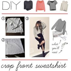 """DIY Crop Front Sweatshirt"" by polyvore-editorial on Polyvore"