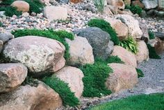 Image result for stone boulder retaining wall