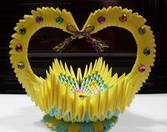 3D Origami - Heart Handle Basket