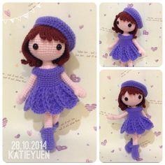"""495 Likes, 35 Comments - ⭐⭐Katie  Yuen⭐⭐ (@katieyuenlj) on Instagram: """"薰衣草女孩👧Lavendar girl  #addicted #adorable #amigurumidoll #amigurumis #amigurumi #cute #crochetdoll…"""""""