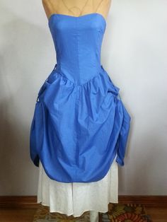 #80s #Vintage #Blue #Strapless #Western #Style #Summer #Sun #Dress #Thriftiquities http://etsy.me/11RHrLx @Etsy #Retro #Fashion #Sweetheart