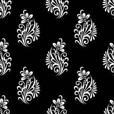 123RF- Millones de fotos, vectores, vídeos y archivos de música para inspirar tus proyectos. Textile Pattern Design, Floral Pattern Vector, Textile Patterns, Flower Art Drawing, Leaf Drawing, Henna Drawings, Pencil Art Drawings, Border Embroidery Designs, Embroidery Motifs